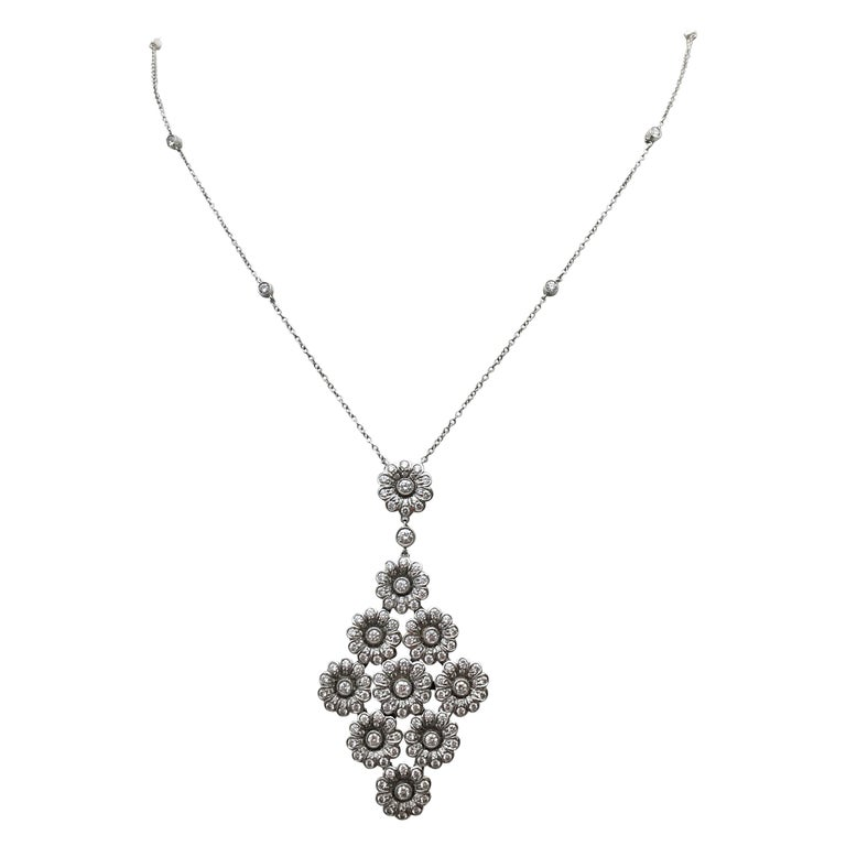 Tiffany & Co. Platinum and Diamond 'Rose' Drop Pendant Necklace For Sale