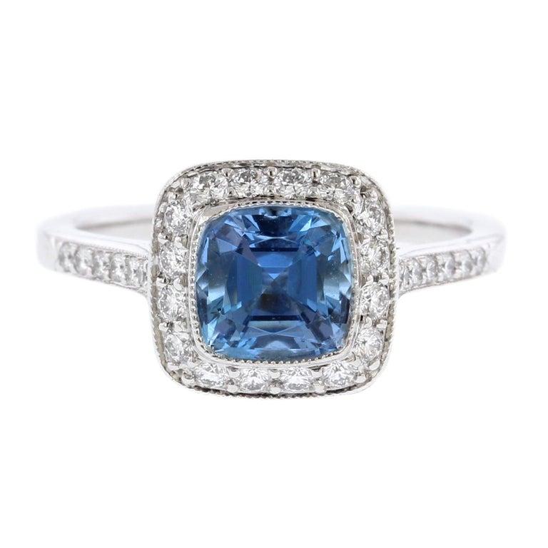 ff276b5b7 Tiffany and Co. Platinum Aquamarine and Diamond Legacy Ring at 1stdibs