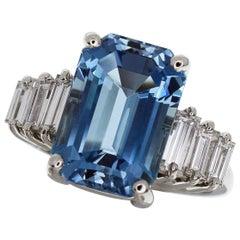 Tiffany & Co. Platinum Aquamarine Diamond Ring