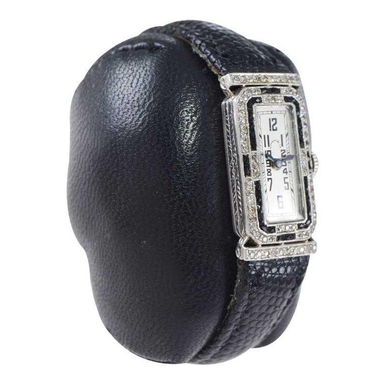 Tiffany & Co. Platinum Art Deco Watch Circa 1930's Hand Made For Sale 2