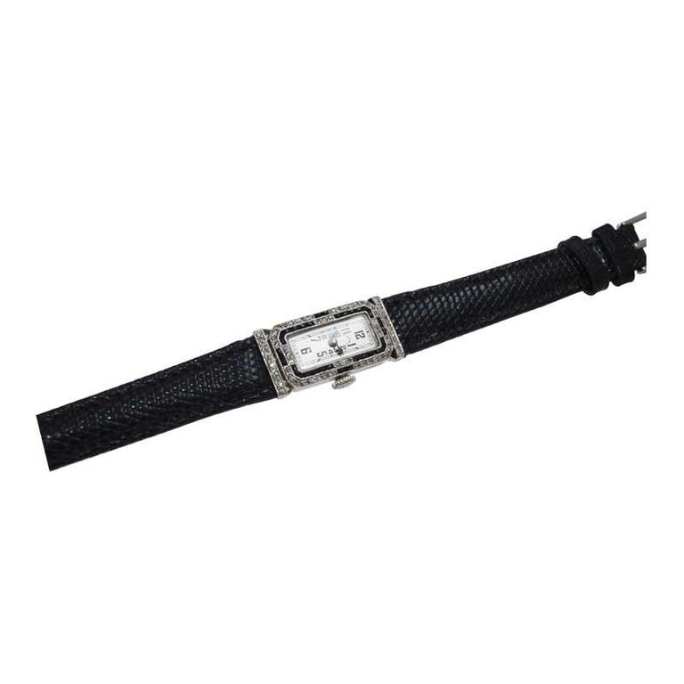 Tiffany & Co. Platinum Art Deco Watch Circa 1930's Hand Made For Sale 3