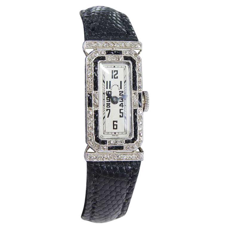 Tiffany & Co. Platinum Art Deco Watch Circa 1930's Hand Made For Sale