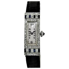 Tiffany & Co. Platinum Art Deco Watch Set with Diamonds and Sapphires circa 1920