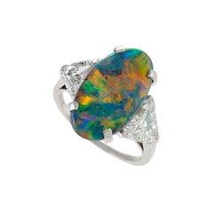 Tiffany & Co. Platinum, Black Opal and Diamond Ring
