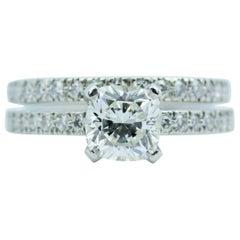 Tiffany & Co. Platinum Cushion Cut Center 1.02CT F-VVS2 Diamond Wedding Set