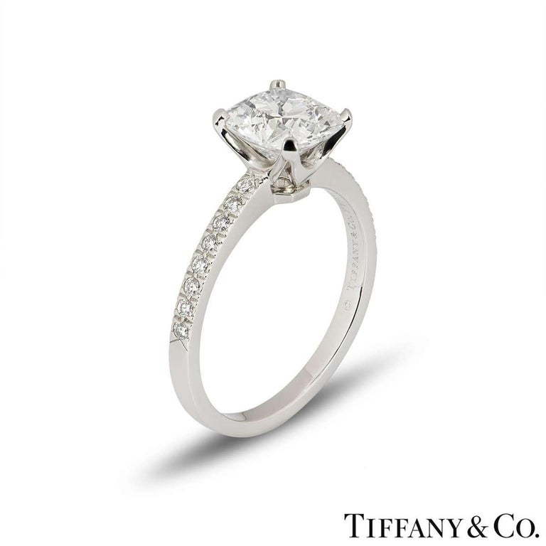 Women's Tiffany & Co. Platinum Cushion Cut Diamond Novo Ring 2.22 Carat G/VVS1 For Sale