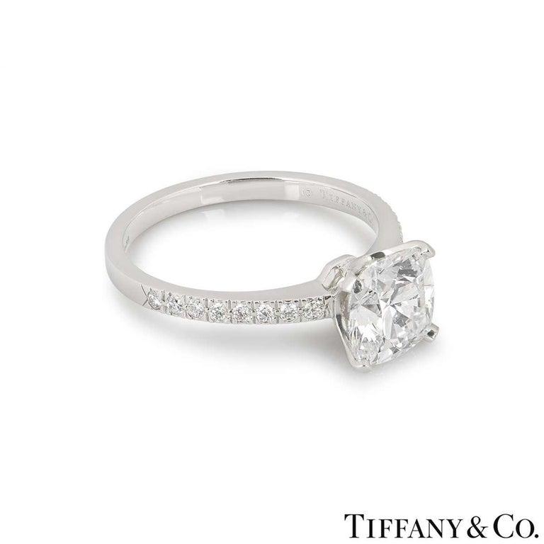 Tiffany & Co. Platinum Cushion Cut Diamond Novo Ring 2.22 Carat G/VVS1 For Sale 1