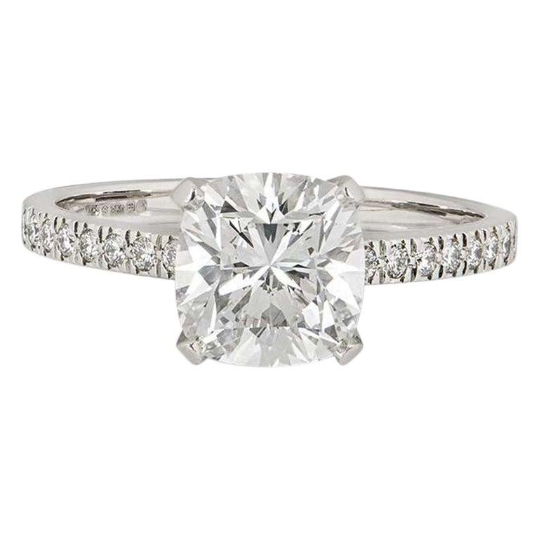 Tiffany & Co. Platinum Cushion Cut Diamond Novo Ring 2.22 Carat G/VVS1 For Sale