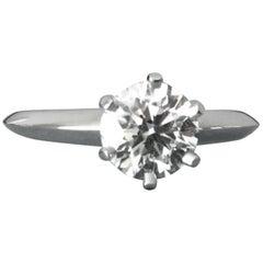 Tiffany & Co. Platinum Diamond 1.05 Carat Round Engagement Ring H
