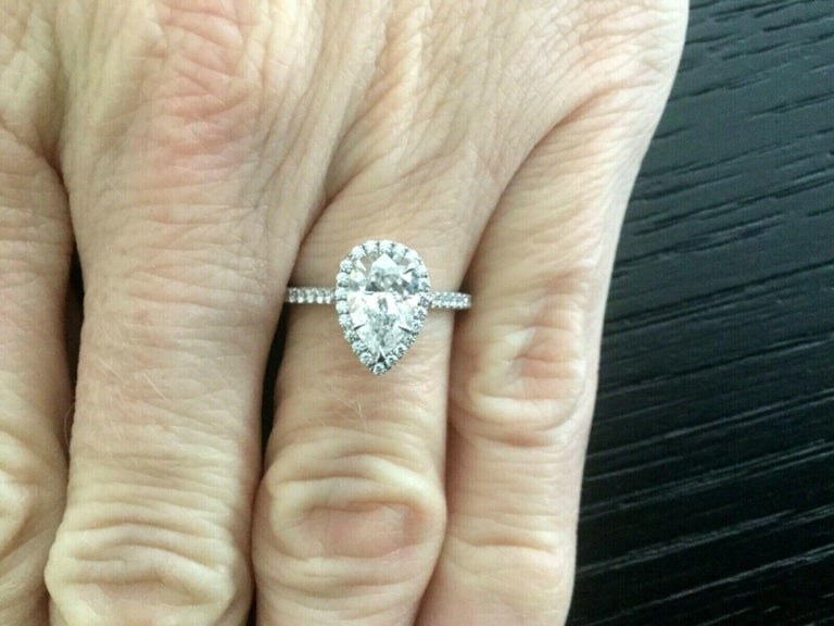 0d7534a40 Pear Cut Tiffany & Co. Platinum Diamond 1.22 Carat Pear Soleste Engagement  Ring E VS1