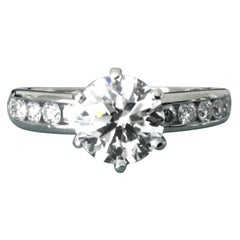 Tiffany & Co. Platinum Diamond 1.24 Carat Round Engagement Ring H VVS2