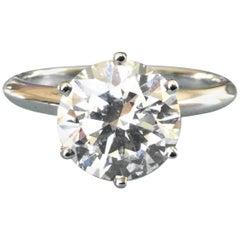 Tiffany & Co. Platinum Diamond 1.30 Carat Round Engagement Ring G Triple Exc