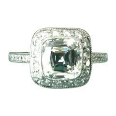 Tiffany & Co. Platinum Diamond 1.44 Carat Legacy Engagement Ring H VVS2 3 EXC