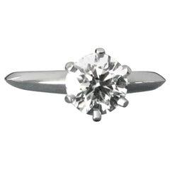 Tiffany & Co. Platinum Diamond .78 Carat Round Engagement Ring I VVS1