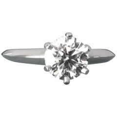 Tiffany & Co. Platinum Diamond .80 Carat Round Engagement Ring H VS2