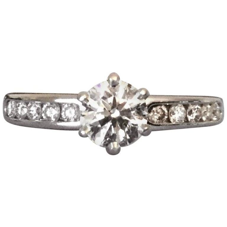 60399a8b726 Tiffany   Co. Platinum Diamond .83 Carat H VVS1 Triple Exc Round Engagement  Ring