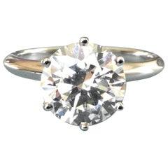 Tiffany & Co. Platinum Diamond .92 Carat Round Ring G VVS2 Triple Excellent Cut