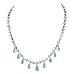 Tiffany & Co. Platinum Diamond and Aquamarine Lace Necklace