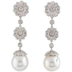 Tiffany & Co. Platinum Diamond and Pearl Drop Earrings