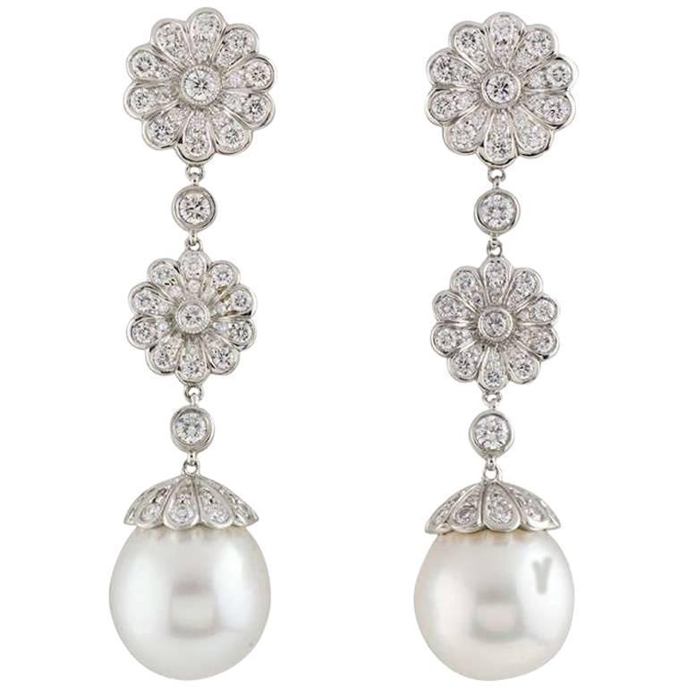 Tiffany Co Platinum Diamond And Pearl Drop Earrings