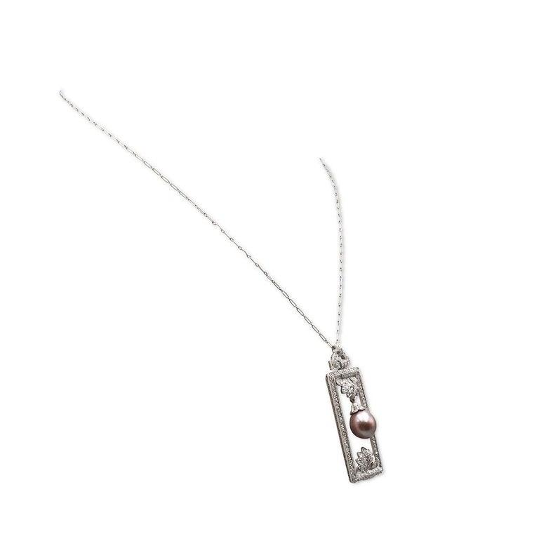 Round Cut Tiffany & Co. Platinum Diamond and Pearl Pendant For Sale