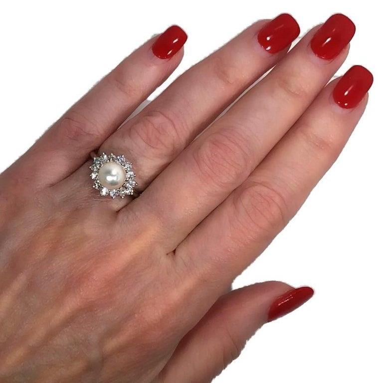 Tiffany & Co. Platinum Diamond and Pearl Ring 5