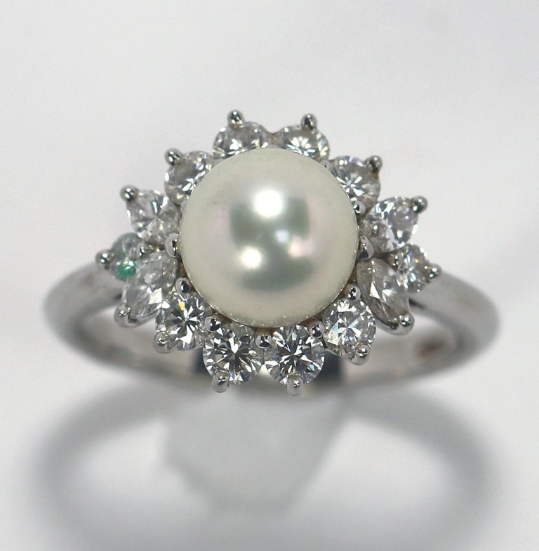 Round Cut Tiffany & Co. Platinum Diamond and Pearl Ring