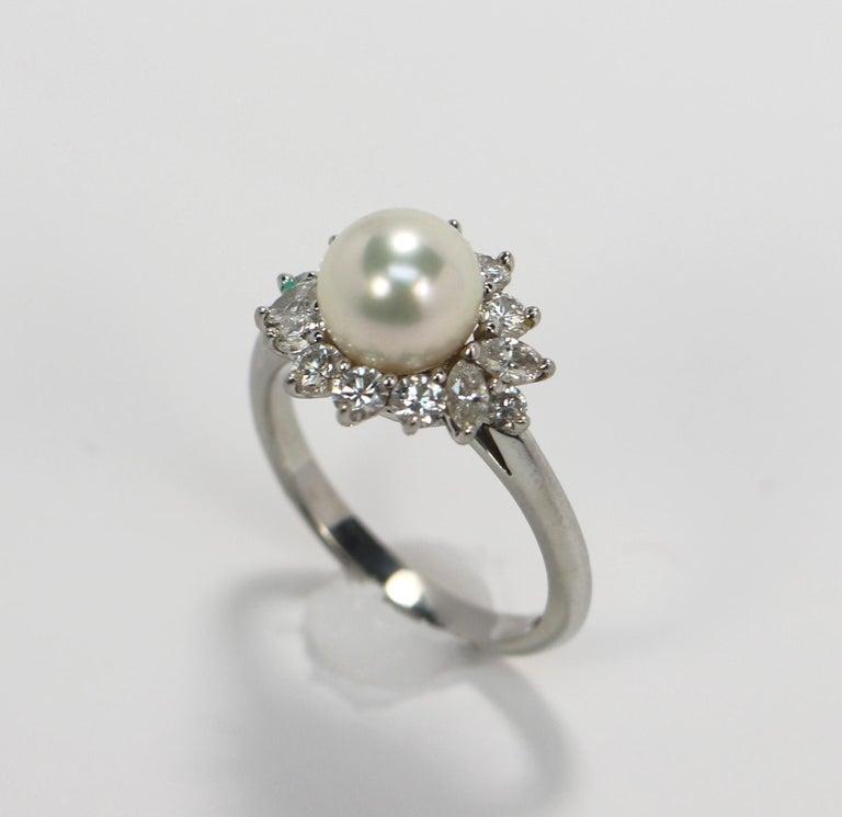 Women's Tiffany & Co. Platinum Diamond and Pearl Ring