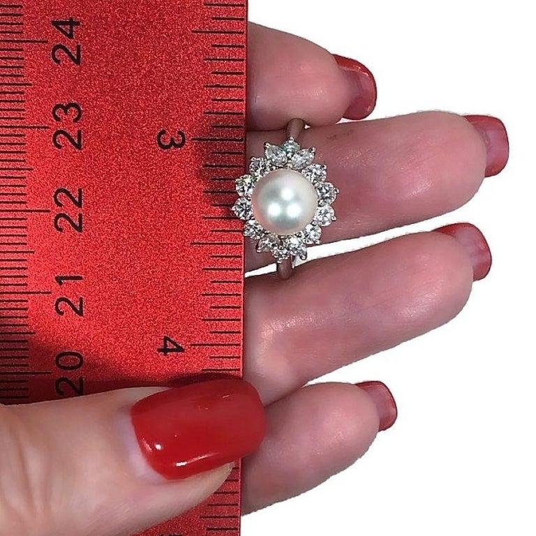 Tiffany & Co. Platinum Diamond and Pearl Ring 3