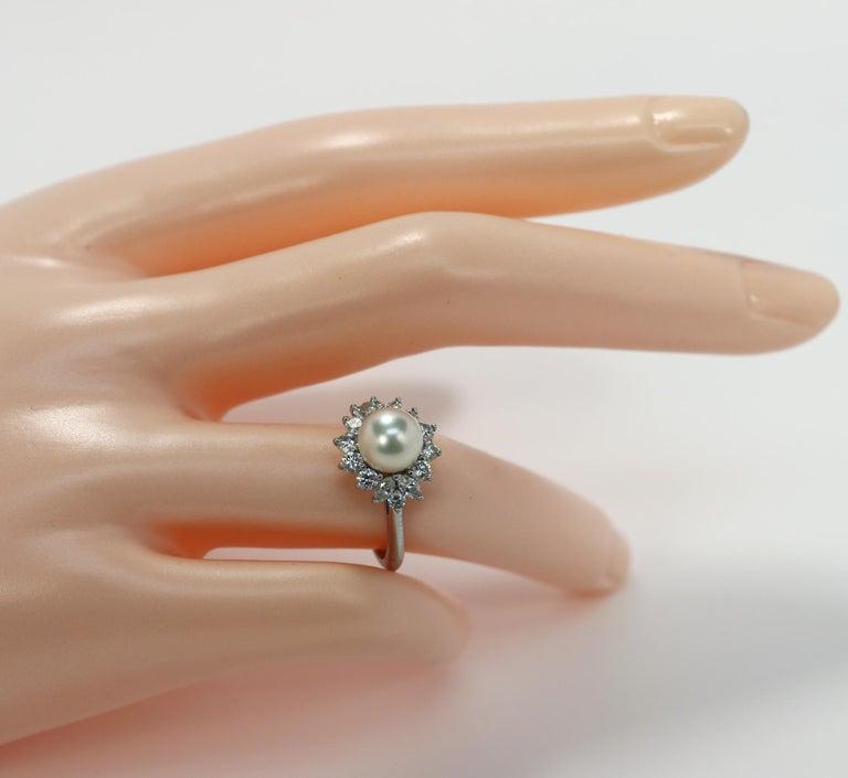 Tiffany & Co. Platinum Diamond and Pearl Ring 4