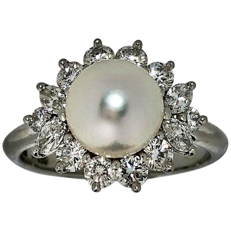 Tiffany & Co. Platinum Diamond and Pearl Ring