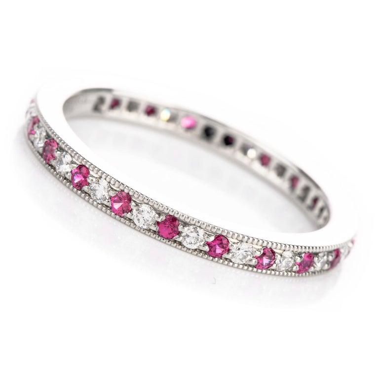 Art Deco Tiffany & Co. Platinum Diamond and Pink Sapphire Eternity Band $3100.00