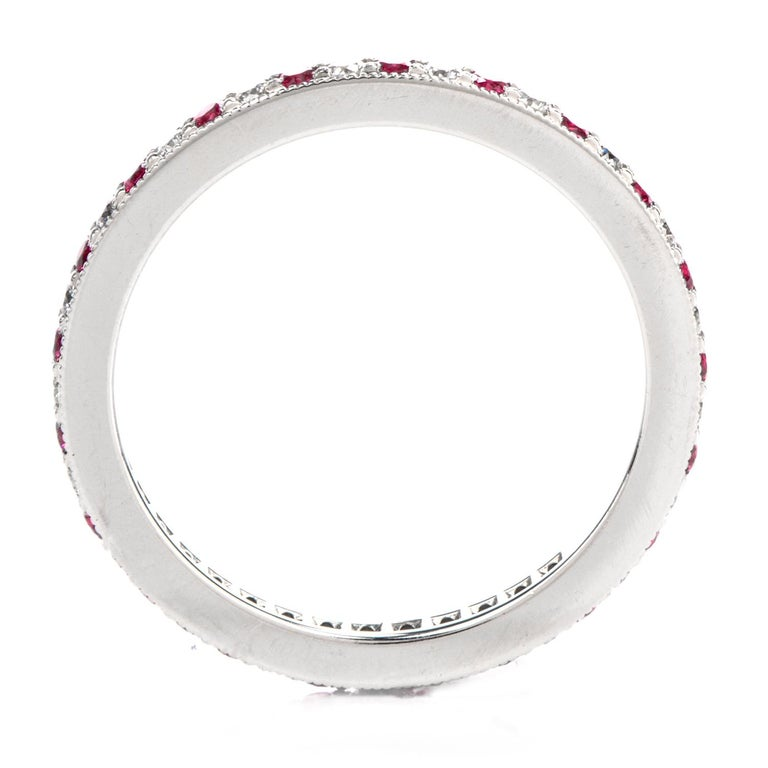 Round Cut Tiffany & Co. Platinum Diamond and Pink Sapphire Eternity Band $3100.00