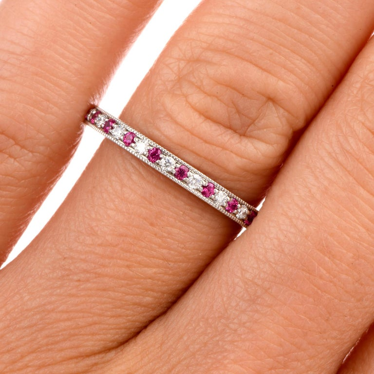 Tiffany & Co. Platinum Diamond and Pink Sapphire Eternity Band $3100.00 In Excellent Condition In Miami, FL