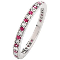 Tiffany & Co. Platinum Diamond and Pink Sapphire Eternity Band $3100.00