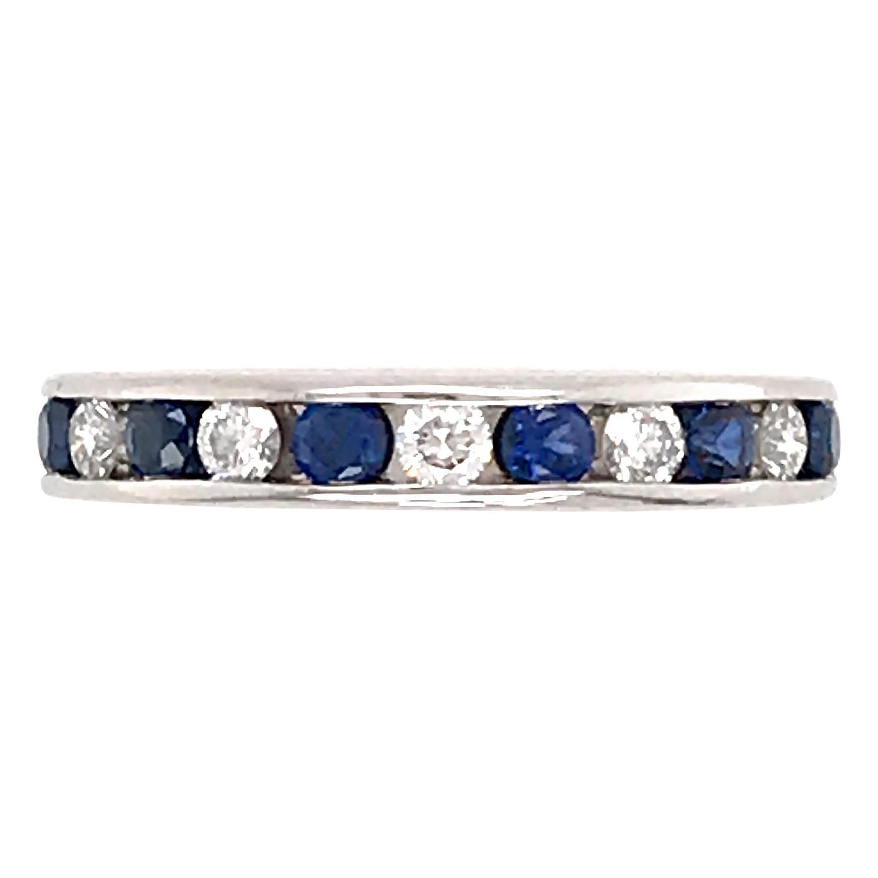 Tiffany & Co. Platinum Diamond and Sapphire Eternity Band