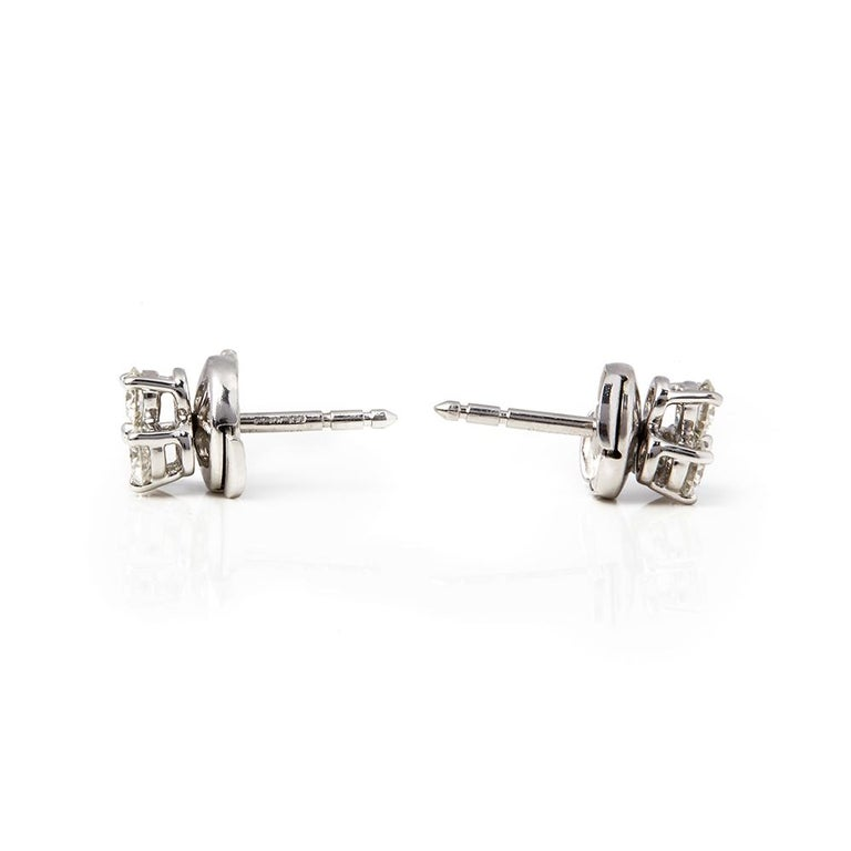 Round Cut Tiffany & Co. Platinum Diamond Aria Stud Earrings For Sale