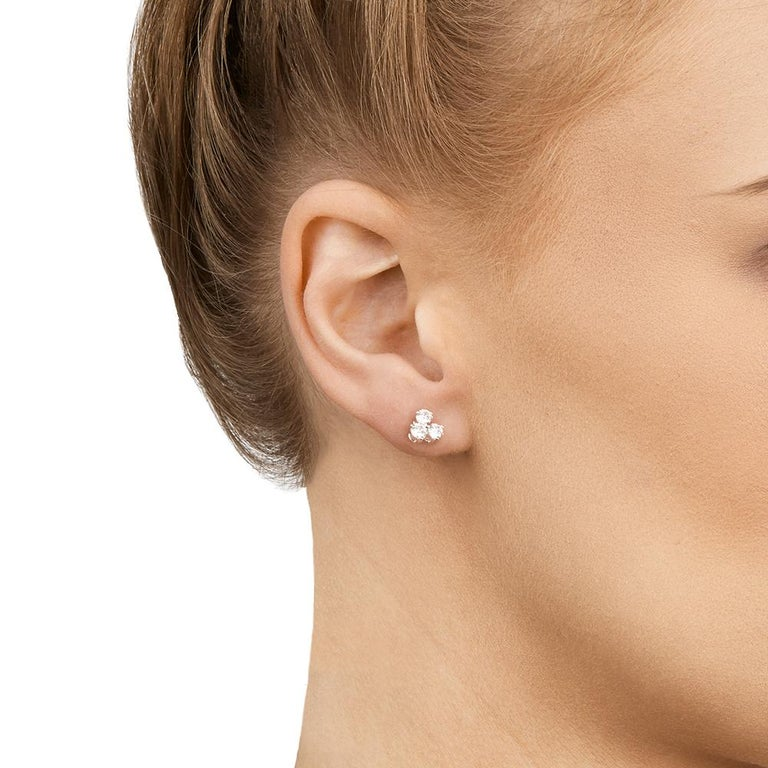 Tiffany & Co. Platinum Diamond Aria Stud Earrings For Sale 2
