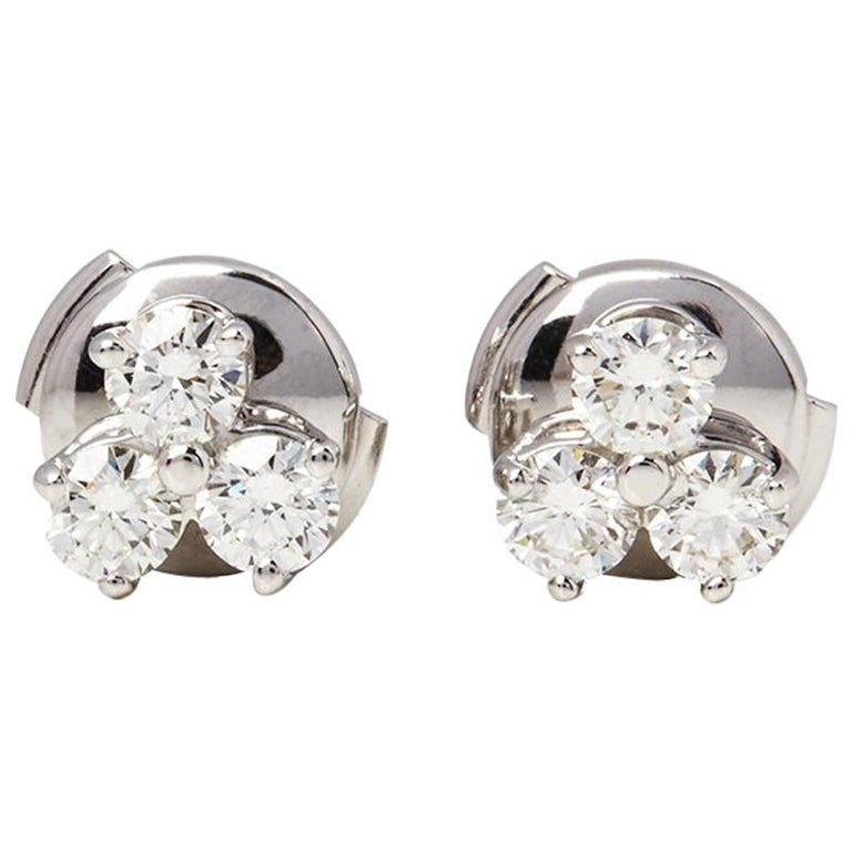 Tiffany & Co. Platinum Diamond Aria Stud Earrings For Sale