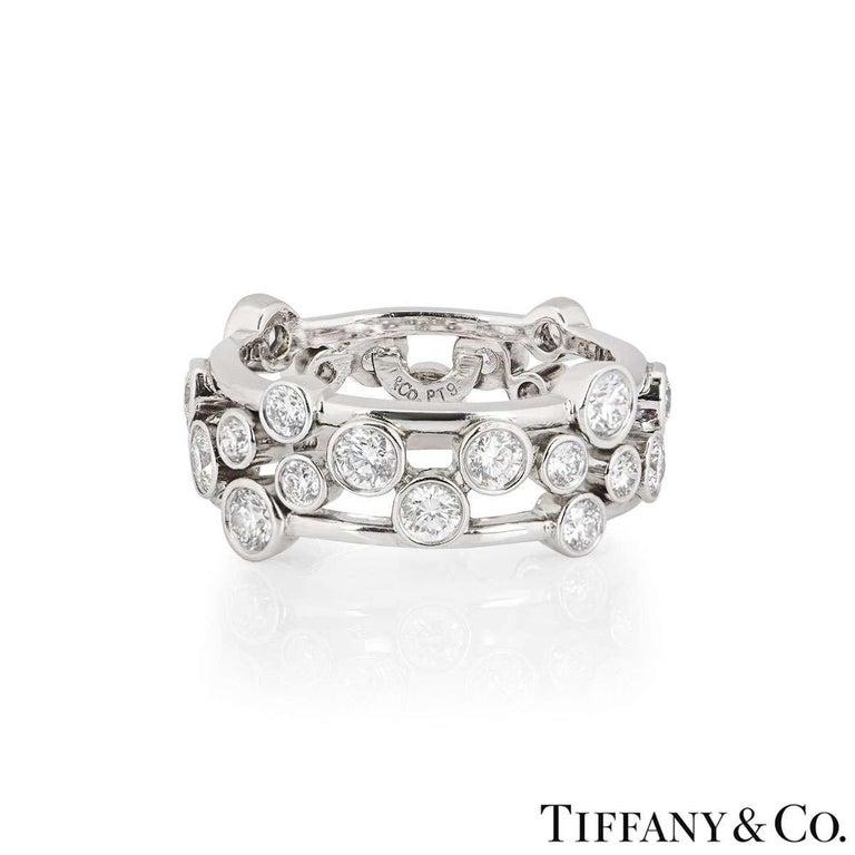 Round Cut Tiffany & Co. Platinum Diamond Bubble Ring 1.60 Carat For Sale