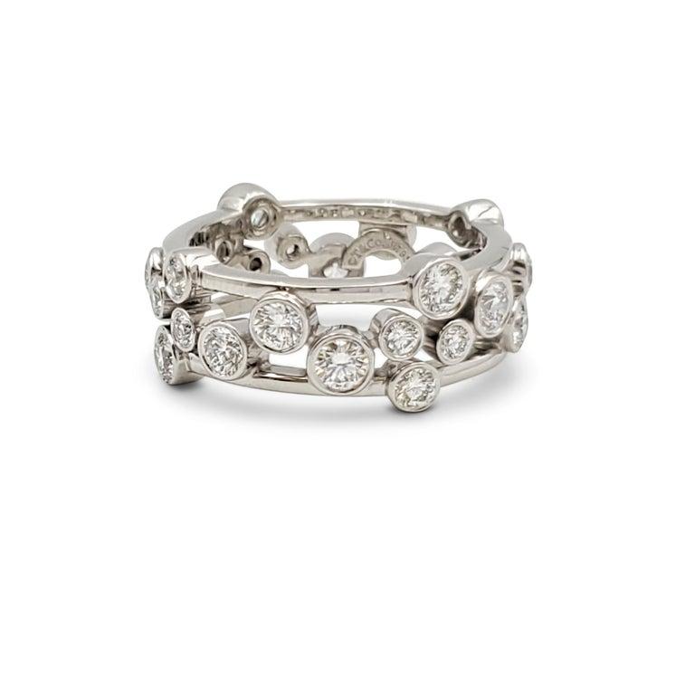 Round Cut Tiffany & Co. Platinum Diamond 'Bubbles' Ring For Sale