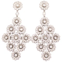 Tiffany & Co. Platinum Diamond Chandelier Flower Earrings