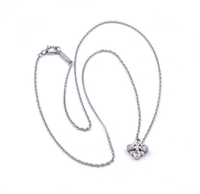 Designer: Tiffany & Co.  Material: Platinum Diamonds: 4 pear cut = .16cttw Color: G Clarity: VS2 Diamonds: 6 round cut = .06cttw Color: G Clarity: VS2 Measurement: necklace measures 16-inches Weight: 2.8 grams