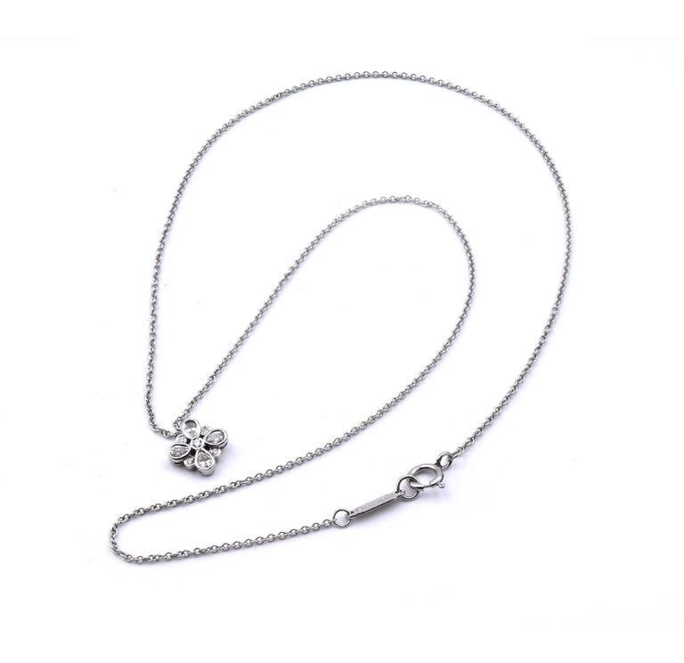 Tiffany & Co. Platinum Diamond Cluster Necklace In Excellent Condition For Sale In Scottsdale, AZ