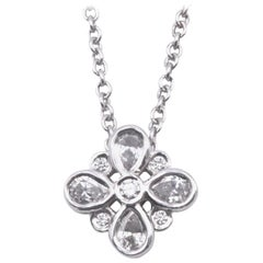 Tiffany & Co. Platinum Diamond Cluster Necklace