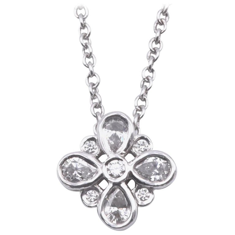 Tiffany & Co. Platinum Diamond Cluster Necklace For Sale