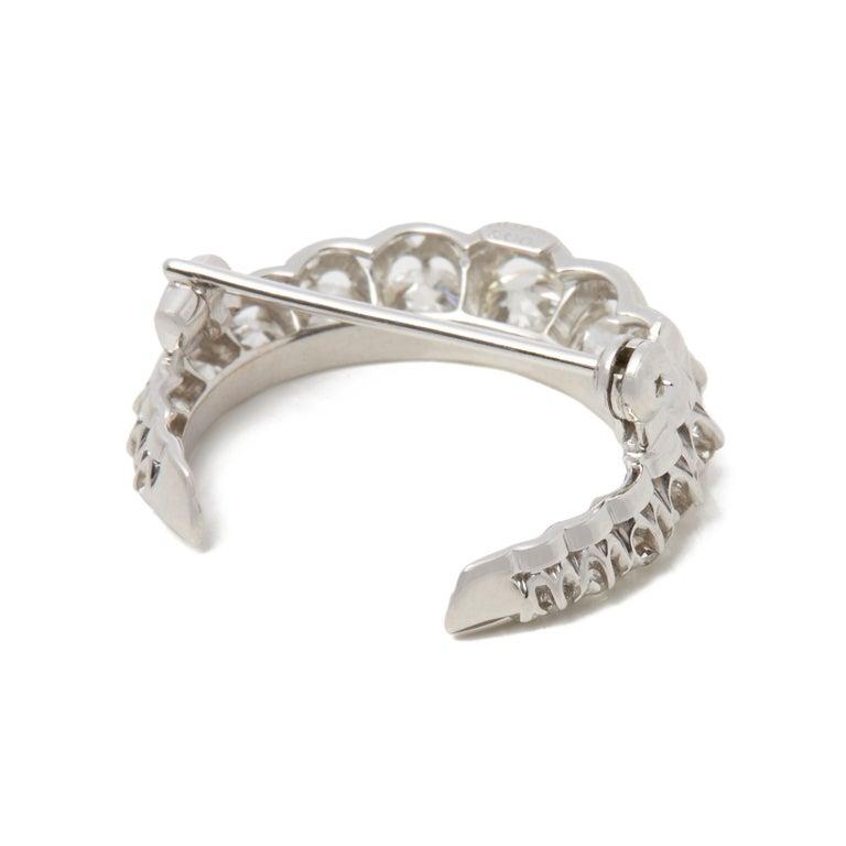 Round Cut Tiffany & Co. Platinum Diamond Crescent Vintage Moon Brooch For Sale