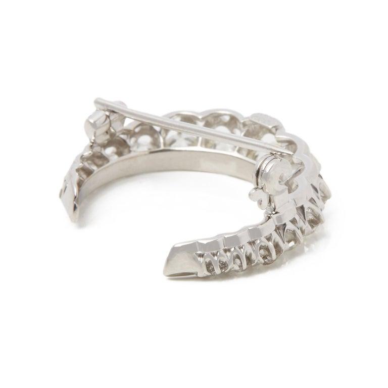 Tiffany & Co. Platinum Diamond Crescent Vintage Moon Brooch In Excellent Condition For Sale In Bishop's Stortford, Hertfordshire