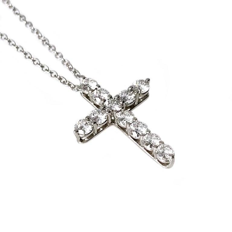 Round Cut Tiffany & Co. Platinum Diamond Cross Pendant Necklace For Sale