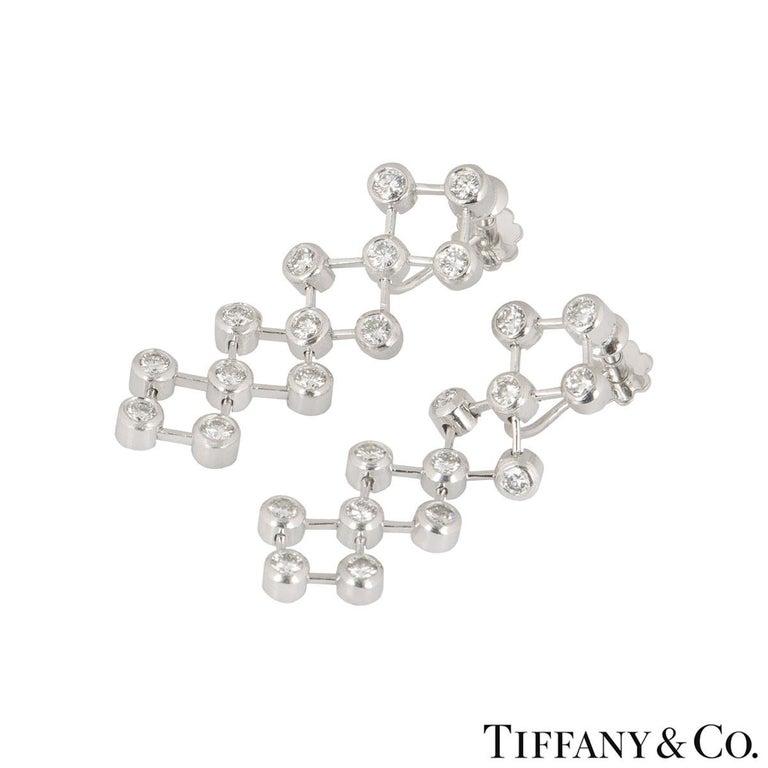 Round Cut Tiffany & Co. Platinum Diamond Drop Earrings For Sale